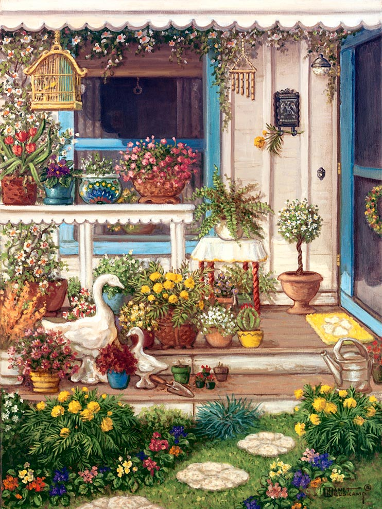 Spring Front Porch, an original oil painting and a giclee , personally enhanced and by the artist Janet Kruskamp showing the front door, window and open porch. Round, off-white paving stones with a rosette pattern lead up to the two steps of the porch, bordered on either side with brightly colored flowers. A white wooden table sits in front of the front window holding bright vases filled with blooming flowers. A wooden bird cage swings from the overhead eave and statuary of a swan mother and young leads up the first step.