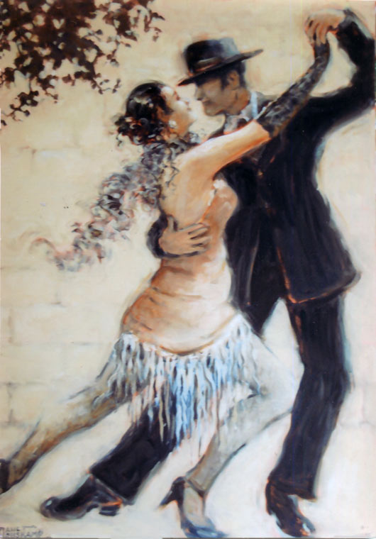 Tango Allure, an original oil painting by Janet Kruskamp available as an original painting in various sizes. The romantic image features a man and woman tango dancers, captured at the peak of a move to the right, hands in the front are stretched high together, back legs are thrust out to the left. Her front leg is bent and between his, both dancers are fully extended in a classic pose. Her feathery scarf billows behind her neck, and the fringed bottom of her dress hangs between her legs. The dancers are posed in front of a soft white block wall, topped by the tip of a tree branch in the upper left corner.