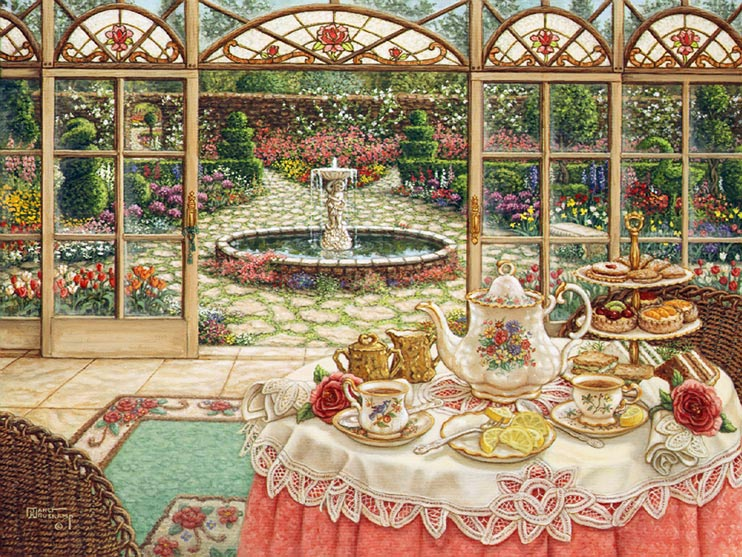 Janet Kruskamp's Paintings - Tea in the Sun Room, a painting set in the sun room overlooking a spectacular garden centering around a circular fountain and moss lined cobblestone path. Tea is set in the sun room on a table sitting on a large area rug. Tea and lemon sit in front of the full pastry tray. One of the Gardens and Florals Gallery of Original Oil Paintings and  original paintings by Janet Kruskamp