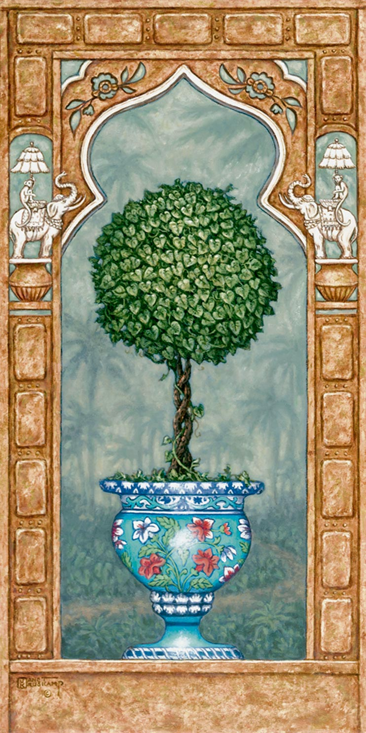 Temple Topiary I1, a painting of a carefully sculpted tree in a brightly painted blue planter, one of Janet Kruskamp's Original Oil Paintings, ,  by artist Janet Kruskamp