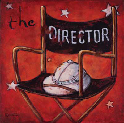 The Director, one of the vintage movie poster collection by artist Janet Kruskamp. Painted with a dark rich red background, this tribute to the vision behind Hollywood cinema is both simple and powerful. The director's chair with DIRECTOR across the back holds only the worn pith helmet of the classic Hollywood director. Often working with military precision, some of the early directors acted like field marshals, commanding respect and immediate action. Some of these directors have themselves been the subject of the cinema, showing up in cameo roles or portrayed in thinly veiled characters.