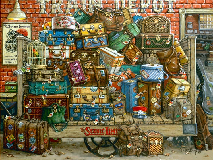 The Scenic Limited, an original oil painting on canvas by artist Janet Kruskamp, depicts and old-fashioned wooden baggage cart laden with suitcases, bags, trunks, a birdcage, hat boxes and a rucksack. A bright red topped cap rest on the leafblown cart sitting in front of a red brick wall with Train Depot painted on the brick. A poster advertising The Scenic Limited train is on the brick wall, illuminated by a hanging light. Over the right side of the cart the baggage room is seen.