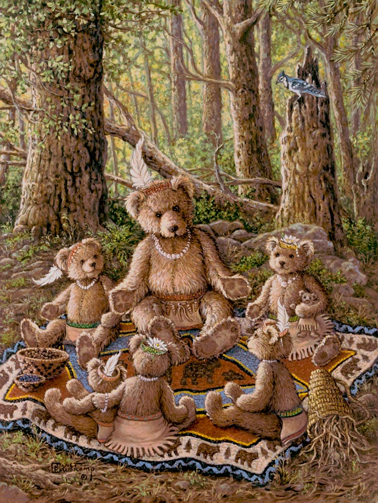 Bentley's Family Picnic, a painting of Bentley Bear and his wife and baby enjoying apple pie and coffee in front of the hollow tree that holds their pantry, one of the Janet Kruskamp Teddy Bear Gallery of  original paintings by Janet Kruskamp