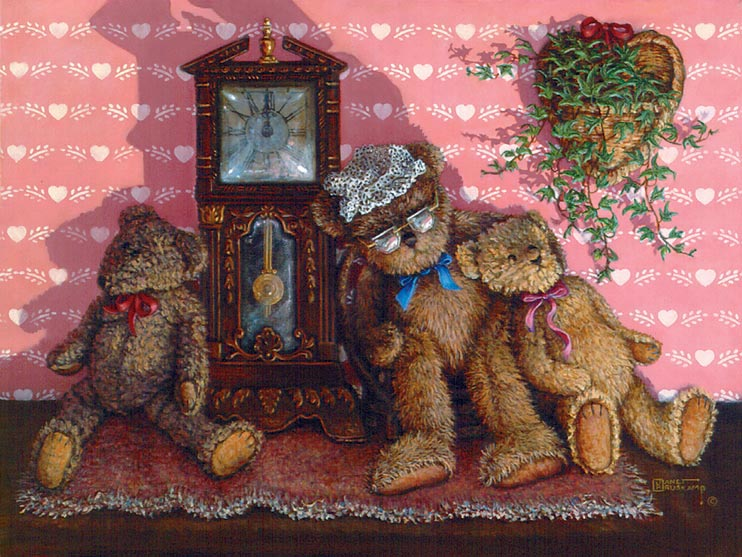 Time Out, a painting of three bears leaning comfortably against a small pendulum clock, one of the Janet Kruskamp Teddy Bear Gallery of  original paintings by Janet Kruskamp