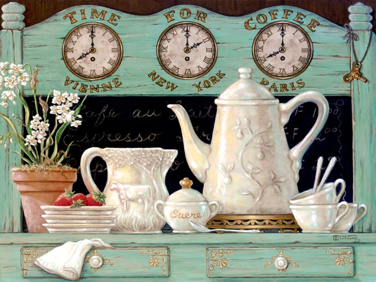 Time for Coffee displays another detailed antique coffee set. In this oil painting we see the coffee set already used with have eaten strawberries and a cute potted plant. Above the chalk menu are clocks for Vienna, New York, and Paris. This is part of Janet's Kruskamp's newer original paintings, and hand signed.