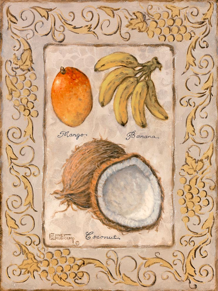 "Mango, Bananas, and a Coconut are displayed in part one of Ms. Kruskamp's two part series of ""Tropical Fruit."" This giclees  looks as though it has been painted on concrete with the border chiseled out. Each fruit is filled it filled with color, detail and has the description listed below. This  giclee has been enhanced and hand by Janet Kruskamp"