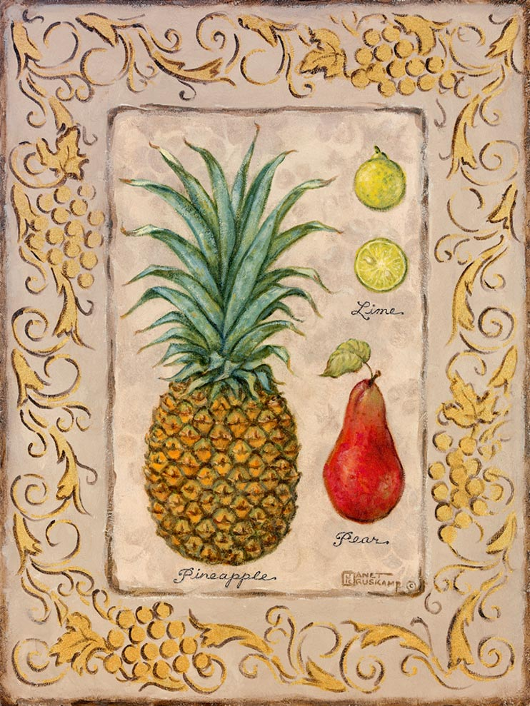 "Pineapple, Limes, a Pear are displayed in second series of ""Tropical Fruit."" Ms. Kruskamp used soft and tropical colors that give life to the fruit she has painted. The original painting has a detailed border of grapes and vines giving the painting that extra ""Tropical"" feel. Hand signed and personally enhanced by Janet Kruskamp."