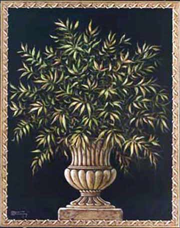 Urn with Plant, a painting of a classical style round urn sitting atop a thin square base. The urn holds a thick spreading green plant with small leaves and the painting is bordered by a dimensional frame, looking like it was wrapped in cord, a new giclee , personally enhanced and by artist Janet Kruskamp.
