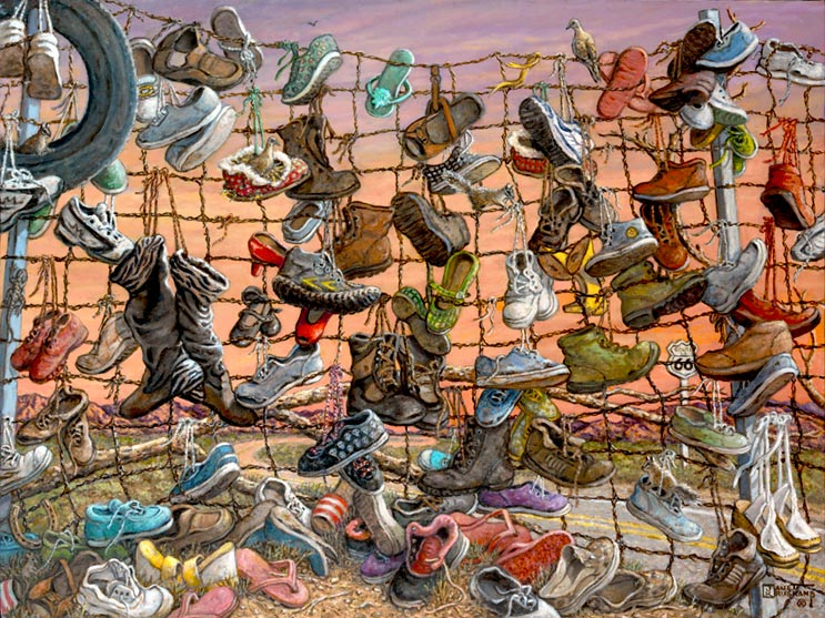 Walking Route 66, a whimsical painting by artist Janet Kruskamp, depicts a wire fence alongside Route 66 with every imaginable type of shoes tied to the fence. The two lane blacktop with the Route 66 marker is visible behind the shoes, boots, sandals, slippers and a tire hung on the fence. Shoes are piled at the base of the fence haphazardly and a dove sits at the top of the fence looking back. Craggy, purple tinged mountains are visible on the horizon through the fence. An orange sky shows clouds and the coming sunset behind the scene. Another orginal oil available directly from the artist, Janet Kruskamp.