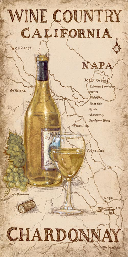 Wine Country I, a giclee , personally enhanced and by the artist Janet Kruskamp featuring an uncorked bottle and glass of Chardonnay wine with a bunch of Chardonnay Grapes. The background is an antique looking map of the Napa wine country in California.