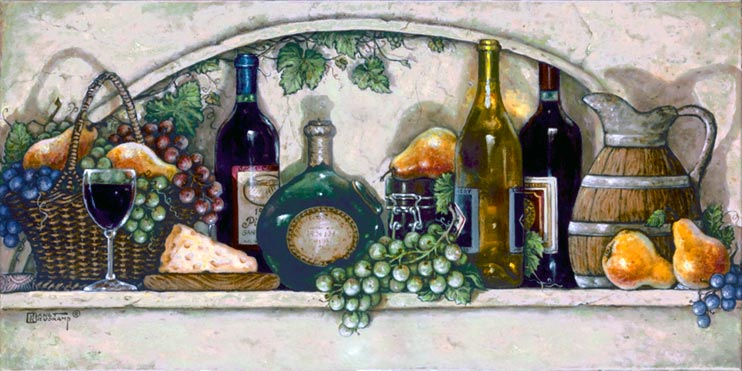 Wine, Fruit 'n Cheese Pantry, a new giclee , personally enhanced and by artist Janet Kruskamp showing a white tile counter laden with grapes, pears, four different wine bottles, a glass of wine and a slice of cheese.