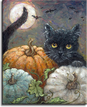 A wide eyed black cat looks out over the orange, white, and green pumpkins, his tail twitching in the air in front of the full moon. Red eyed bats fly across the night sky in the distance. The black cat's bright yellow eyes stares intently, and with the cat's left paw on top of the white pumpkin, he's ready to pounce.