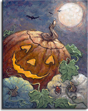 A smiling jack-o-lantern sits at an angle in front of two white pumpkins and their vines, illuminated from the inside with a soft yellow glow. A bright red-patterned spider is cimbing up the ace of the white pumpkin on the right. Red eyed bats fly in the night sky in the background against the bright full moon.