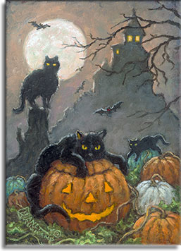 A spooky Halloween scene that has it all! Pumpkins, black cats, evil bats, the scary house at the top of the hill, and all under a full moon. Black cats lounge on top of a pumpkin, and a glowing jack-o-lantern. Another cat perches on top of a small tree stump. A small house on top of a hill beckons you with glowing windows. Leafless tree branches move in the wind against the dark night sky.