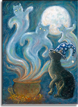 The spirits have been summoned by the black cat wearing the sorcerer's blue hat. Three ghosts are coming out of the hot cauldron, heading for the dark blue sky lightened by a full moon. The cat's yellow glowing eye is watching the ghosts rise. Only on All Hallows Eve.