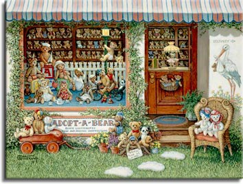 Adopt a Bear, a painting of a teddy bear shop with a back wall full of teddies, also displayed in front of the store in a basket, wagon and chair. The large display window is home to nearly a dozen teddy bears while the shelves on the back wall of the shop are lined with smaller stuffed teddy bears. One of the Janet Kruskamp Teddy Bear Gallery of Original Oil Paintings and  Original Paintings by Janet Kruskamp