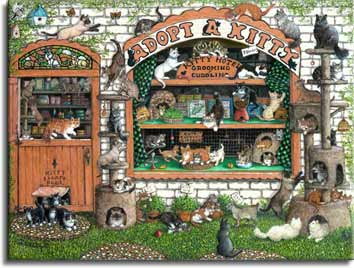 Adopt A Kitty, an original painting by artist Janet Kruskamp featuring sixty cats and one frightened mouse. The small shop is literally overflowing with cats, kittens piling out the little escape door at the bottom of the door, as well as more than two dozen more play around the outside of the building on the ground, on the doorway, sign, and kitty play towers on either side of the front window. Help! Adopt a kitty! Please! - Cat Paintings Gallery -   original paintings, by Janet Kruskamp.