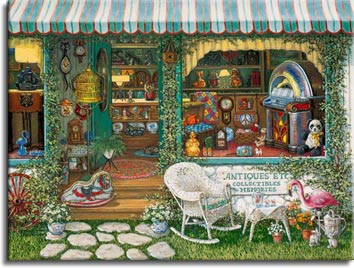 Antiques Etc, a painting of an antique shop window and front yard of shop shows antiques and collectibles from the 1920's through the 1970's, part of Janet Kruskamp's Interior and Exterior Scenes Paintings Gallery of original oil paintngs.  Items include a stuffed panda, a wooden rocking horse, a brightly colored jukebox, novelty clocks, lamps, and ceramics. A small white wicker rocking chair and table sit out in front of the sign under the window. A pink flamingo sits outside as well. Ceramics, toys, a large vintage radio and a brightly colored quilt fill the store. Ivy entwines the building and is growing through a red wagon wheel outside the store on the left. A gold birdcage is perched outside the open door. An original oil painting by Janet Kruskamp.