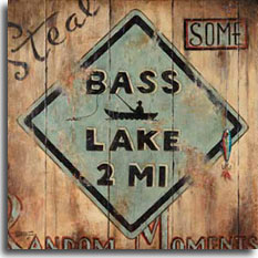 Bass Lake is one of Janet Kruskamp's series of vintage road sign posters. Painted over a wooden plank background is a familiar diamond sign shape with the silhouette of an angler in his boat fishing, in the middle of the text BASS LAKE 2 MI. Surrounding the sign on all four corners is the motto: 'Steal some Random Moments' painted into the wood. A fishing lure dangles on the right side of the sign, stuck into the wood. The sign must have been there for quite some time, the paint is scuffed, scratched, worn, and generally in disrepair. Think of the fisherman in your life with the original painting of this poster.