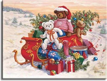 Sitting on a snowy road in a winter landscape, three adorable stuffed teddy bears bring a sleigh full of toys and christmas cheer. Overflowing with presents and a lovingly detailed fully decorated christmas tree, the red sleigh sits in front of a beatifully colored sunset. A larger dark brown bear, wearing a red Santa hat and cute pink sweater decorated by a single snowflake on the chest, sits in the middle of the sleigh. A smaller white bear wearing a red and gold ribbon tied in a bow sits in front, turned and smiling to the viewer. A smaller brown bear hangs over the back of the sleigh. Christmas tree ornaments are dropped along the road behind the sleigh, along with a solitary candy cane. One of the Janet Kruskamp Teddy Bear Gallery of Original Paintings hand by Janet Kruskamp.