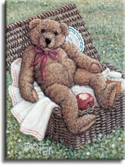 Bear in Basket by Janet Kruskamp