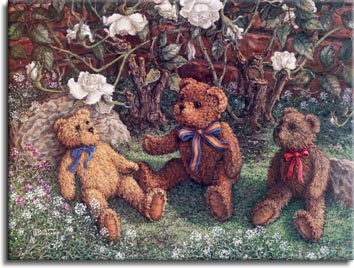 Bears and Roses, a painting of three teddy bears sitting in front of  the white rose bush, one of the Janet Kruskamp Teddy Bear Gallery of Original Oil Paintings and  Original Paintings by Janet Kruskamp