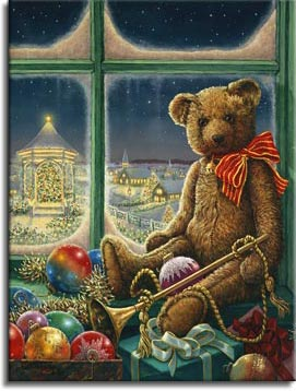 Bentley Bear, wearing a bright red with gold lines ribbon tied around his neck, sits on the window sill in front of a frosty winter window. Surrounded by toys, presents and ornaments, Bentley holds a long brass horn down his near side. The night landscape through the window is brightly lit with holiday lights, the gazebo outside is glowing with light, illuminating a broad Christmas tree that fills the gazebo. Even the buildings in the distance glow with a soft light. One of Janet Kruskamp's new holiday paintings available directly from the artist, Janet Kruskamp.