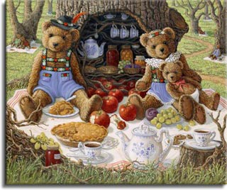 Bentley's Family Picnic, a painting of Bentley Bear and his wife and baby enjoying apple pie and tea in front of the hollow tree that holds their pantry, one of the Janet Kruskamp Teddy Bear Gallery of  Original Oil Paintings by Janet Kruskamp
