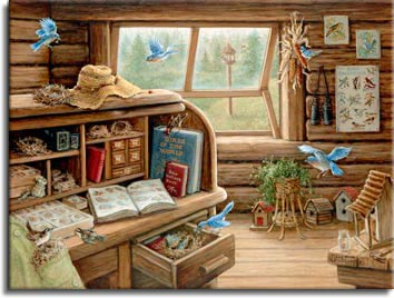 Bird Watchers Retreat a painting of a mountain cabin filled with books and memorbelia collected over the years by an avid birdwatcher. Books illustrating feathers and boxes of bird eggs, an old box camera, posters of birds and the birds themselves nesting in the cabin, can be seen everywhere. From Janet Kruskamp's Interior and Exterior Scenes Paintings Gallery, featuring original oil paintngs by Janet Kruskamp.