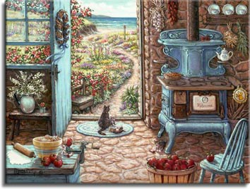 Blue Stove, a painting by Janet Kruskamp, an antique stove sits in old country kitchen by the sea. Apples are being peeled and pie dough is rolled out in preparation for the making of  a pie. A mother cat and one of her kittens sun themselves in the doorway, while other kittens frolic on the warm cobblestone floor. Another painting from the Interior and Exterior Scenes Paintings Gallery of Original Oils and  Original Paintings, by Janet Kruskamp.