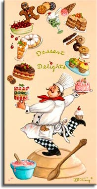 Whimsical Chef Dessert Delights, one of a set of four original oil paintings by artist Janet Kruskamp. This tall, narrow poster features the whimsical chef performing a magical juggling act, keeping four decorated cakes, donuts, cookies, a bowl of cherries, a plate of decorated cupcakes, a couple of sundaes and an ice cream cone. And if that's not enough, the sole of his right foot raised behind him holds a decorated cupcake. The chef stands on a giant wide mixing bowl turned upside down, a smaller blue bowl holds pink batter ready to bake. A monstrously large spoon nearly as tall as the chef completes the scene. This highly detailed painting is available for purchase as an original oil or acrylic on canvas painting by the artist Janet Kruskamp.