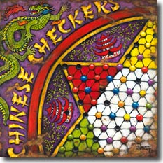 Chinese Checkers, another original painting available from Janet Kruskamp Studios. This brilliantly colored poster features a royal purple, red, yellow, gold, green and white decorated chinese checker board. A green fire-breathing dragon inhabits the upper and left side over stylized lettering of CHINESE CHECKERS. Between the star points of the playing area, red roofed pagodas sit against a green plant background. Colored marbles sit in the worn holes on the checkerboard. Wonderfully worn and aged, this looks like this poster has seen a few rough years. This colorful painting is available for purchase as an acrylic on canvas painting by the artist Janet Kruskamp.