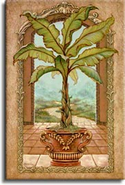 Classical Banana Tree, a painting of a potted banana tree inside an open arch framing the path away from the palace, one of Janet Kruskamp's Original Oils and  original paintings, hand by artist Janet Kruskamp