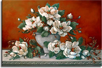 Janet Kruskamp's Paintings - Classical Magnolia II, a beautiful painting of a side table arrangement of white magnolia in and around a classical grey vase. The deep red of the wall behind the table contrasts with the pale white of the large fully opened magnolia flowers. Many small buds promise more blossoms to come. One of the Still Lifes Gallery of Original Oil Paintings and  original paintings by Janet Kruskamp