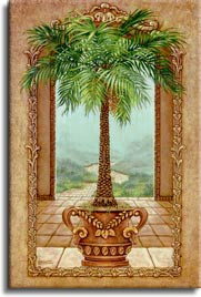 Classical Palm Tree, a painting of a potted palm tree inside an open arch and in front of another arch framing the path away from the palace, one of Janet Kruskamp's Original Oil Paintings, ,  by artist Janet Kruskamp