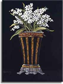 "Janet Kruskamp used classic white flowers to enhance the details of the original vase. The dark background really makes Janet's choice of colors mesh well in her second version of ""Classic Vase with Flowers."" Just like the first this too is , personally original oil or acrylic on canvas painting by Janet Kruskamp."