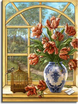 Janet Kruskamp's Paintings - Dragon Tulips, a painting of a white porcelain vase with blue decoration holding dragon tulips, sitting on a window sill overlooking a path outside. A small bird sits atop a small wire cage on the sill next to the vase and loose tulips. One of the Gardens and Florals Gallery of Original Oil Paintings and  original paintings by Janet Kruskamp