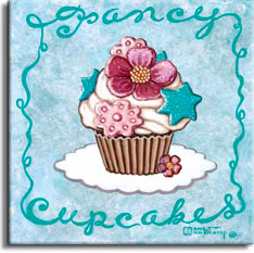 Fancy Cupcakes, one of the cupcake poster series from renowned artist Janet Kruskamp. A white doily holds a very fancy cupcake in the middle of a light blue poster. A scrolled border incorporating Fancy and Cupcakes at the top and bottom circle all four sides. A cupcake, still in the paper, is decorated with white frosting swirls and covered with a perfect purple peony, blue stars that match the color of the border, more pink flowers and a tiny pink blossom leaning against the bottom of the cupcake. This appetizing poster is available from the artist Janet Kruskamp