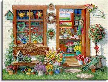 Janet Kruskamp's Paintings - Fancy Flower Shoppe, a painting of the outside of the Fancy Flower Shoppe, with a glimpse in the open front door and through the front window. The shoppe is full of flowers and some bird houses, potted and freshly cut flowers are everywhere, including under and on the bench under the front window outside. A look through the front door leads past the arranging bench out the back window to rows of flowers growing in the sun. One of the Gardens and Florals Gallery of Original Oil Paintings and  original paintings by Janet Kruskamp