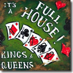 Full House, another original painting available from Janet Kruskamp Studios. A card themed poster with a weathered green background showing a kings high over queens full house hand of cards. The white words It's A Full House curve over the cards on the top right, and in the lower left is written Kings and Queens. The range of card suits  are scattered through the background. Looking scratched and rusted, this poster looks like it has seen a lot of years.  This painting is available for purchase as an acrylic on canvas painting by the artist Janet Kruskamp.