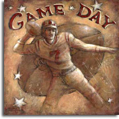 Game Day, a poster from painter Janet Kruskamp, takes the viewer back to the early days of football. A quarterback, dressed in a vintage uniform and wearing a leather helmet, cockes a football above his right shoulder ready for the touchdown pass. This warm toned poster has a background of a large football with the words Game Day curved over the top of the ball. A handful of white stars along with play diagrams of x's and o's complete the aged background. This wonderful original painting is available from the artist, Janet Kruskamp.