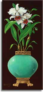 Ginger Jar with Orchids I, an original oil painting by artist Janet Kruskamp. A bulbous jade colored jar sitting on a banded bottom with claw feet, holds a pair of large orchids and it's large leaves. A classical border frames a rich brown background. This original painting will be , personally enhanced, then by Janet Kruskamp, the artist.