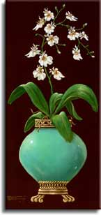 Ginger Jar with Orchids II, an original oil painting by artist Janet Kruskamp. A rounded jade colored jar sitting on a banded bottom with claw feet, holds a dozen smail orchids and their leaves. A classical border frames a rich brown background. This original painting will be , personally enhanced, then by Janet Kruskamp, the artist.