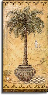 Global Palm 2, a painting of a potted palm tree on a hand painted map, one of Janet Kruskamp's Original Gouache and Rice Paper, ,  by artist Janet Kruskamp