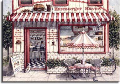 Hamburger Haven, a painting of an old-fashioned hamburger shop with a table on the sidewalk out front and a dog waiting patiently at the door while pigeons hunt for crumbs under the table outside. One of Janet Kruskamp's Paintings in her Figure and Genre Gallery of original oil paintngs by Janet Kruskamp.