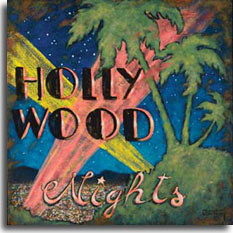 Hollywood Nights, a nostalgic look back at Hollywood in it's heyday, is one of artist Janet Kruskamp's vintage movie posters. With colors reminiscent of pink flamingos, the green outline of palm trees on the hill shows the bright multicolored lights of the Los Angeles basin backed by the low black hills behind. Pink and yellow spotlight beams cross in an X pattern behind the words HOLLY WOOD NIGHTS. A starry sky on top complete the idyllic version of the Mecca of movies.