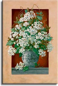 Janet Kruskamp's Paintings - Hydrangeas En Rouge, an original oil painting showing a lovely vase of cut hydrangea blossoms coming through in front of the frame in the painting. A deep rich red wall is contrasted by the white petals and light grey round classical vase on a gray shelf. A lone hydrangea blossom lays next to the vase on the shelf. One of the Still Life Gallery of Original Oil Paintings and  original paintings by Janet Kruskamp