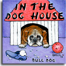 In the Dog House, a painting by artist Janet Kruskamp, features a bulldog laying inside his red-roofed dog house with a chewn up blue slipper and red ball in front on the ground. A light blue background contrasts with the white slats of the dog house. The brown bulldog is looking up with sad eyes, knowing he is being punished for his chewing. Another original painting available directly from the artist Janet Kruskamp.