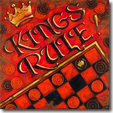 Kings Rule, another original painting available from Janet Kruskamp Studios. Checkers is the game, and this poster brings it to life. A bright red background with black and red checkers sit under the fancy type 3D words KINGS RULE! A gold crown is balanced by the corner of a checkerboard bordered in gold in the lower right. Very worn edges with rust show the age of this vintage poster. This brightly colored painting is available for purchase as an acrylic on canvas painting by the artist Janet Kruskamp.