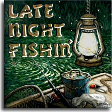 Late Night Fishin', another new poster from artist Janet Kruskamp, depicts a late night fishing trip, the lantern hung high, the bobber floating on the water connected to the pole leaning over the side of the boat. An old bait bucket, lure, net and bobber sit on and in the boat. The dark background is speckled with fireflies and on the left side in rustic capitals is the title LATE NIGHT FISHIN. Order this and other original paintings directly from the artist, Janet Kruskamp.
